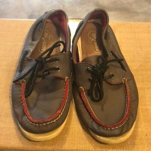 Red and gray Sperrys